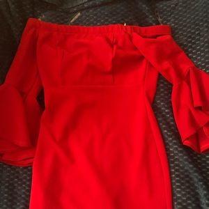 Dresses & Skirts - Over the shoulder red dress!